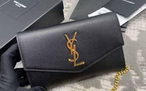 YSL/圣罗兰 UPTOWN粒面压印皮革链条钱包 607788黑色