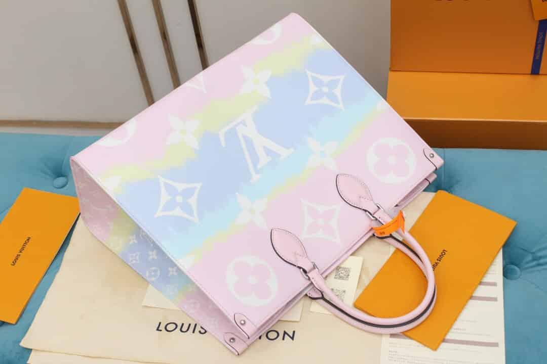 LV M45119 夏日系列ONTHEGO粉色渐变托特手提购物袋