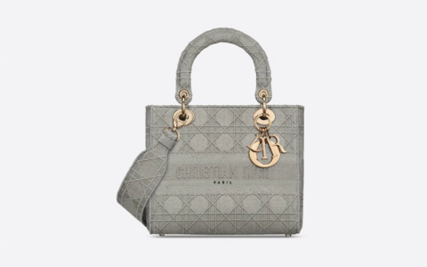 Dior/迪奥 中号岩石灰刺绣藤格纹Lady D-Lite戴妃包 M950
