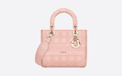 Dior/迪奥 中号玫瑰粉色刺绣藤格纹Lady D-Lite戴妃包 M957