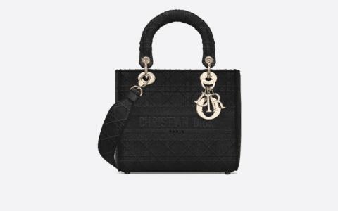 Dior/迪奥 中号黑色刺绣藤格纹Lady D-Lite戴妃包 M989