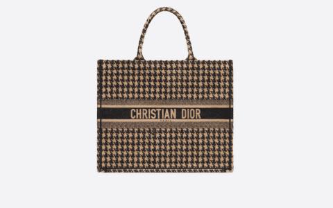 Dior/迪奥 米色千鸟格纹刺绣Book Tote手提购物袋 M1286