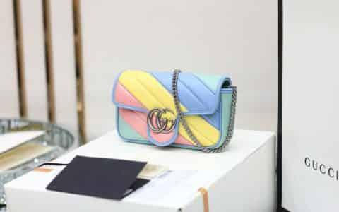 Gucci GG Marmont马卡龙系列绗缝皮革超迷你链条包 476433