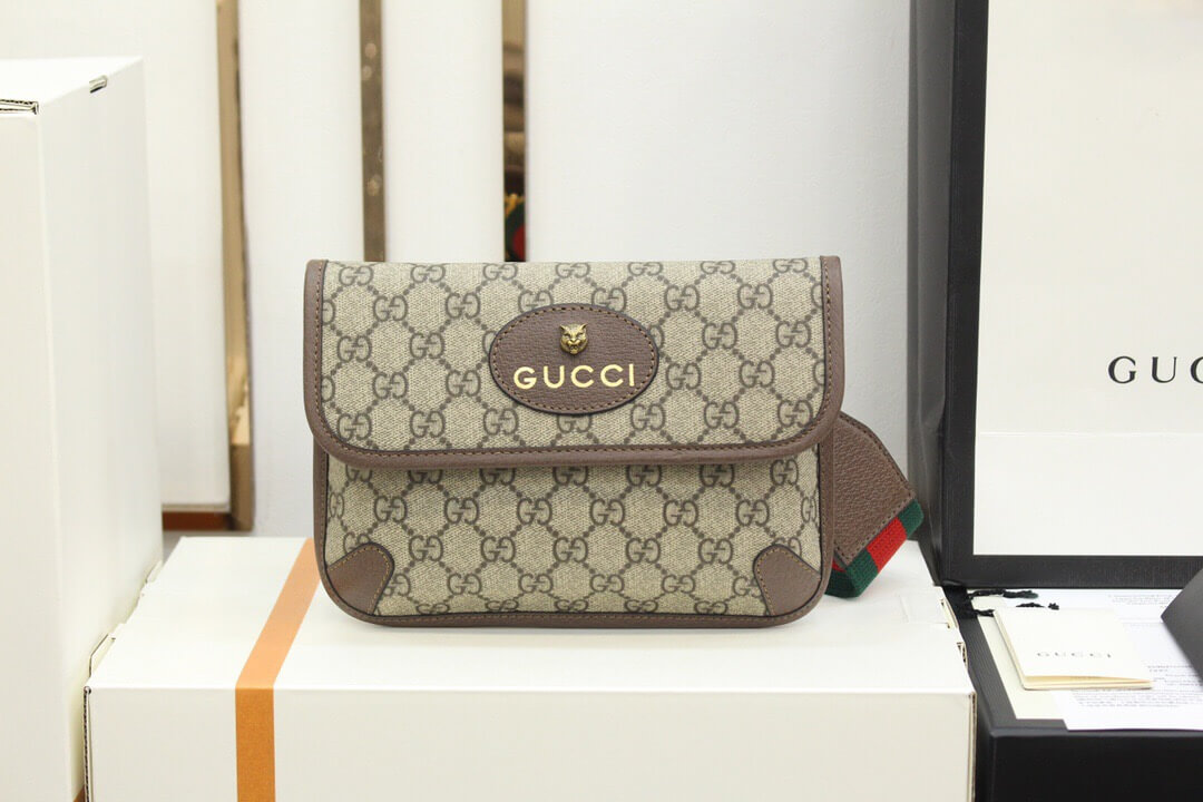Gucci/古驰 Totem GG Superme经典爆款虎头腰包 489617