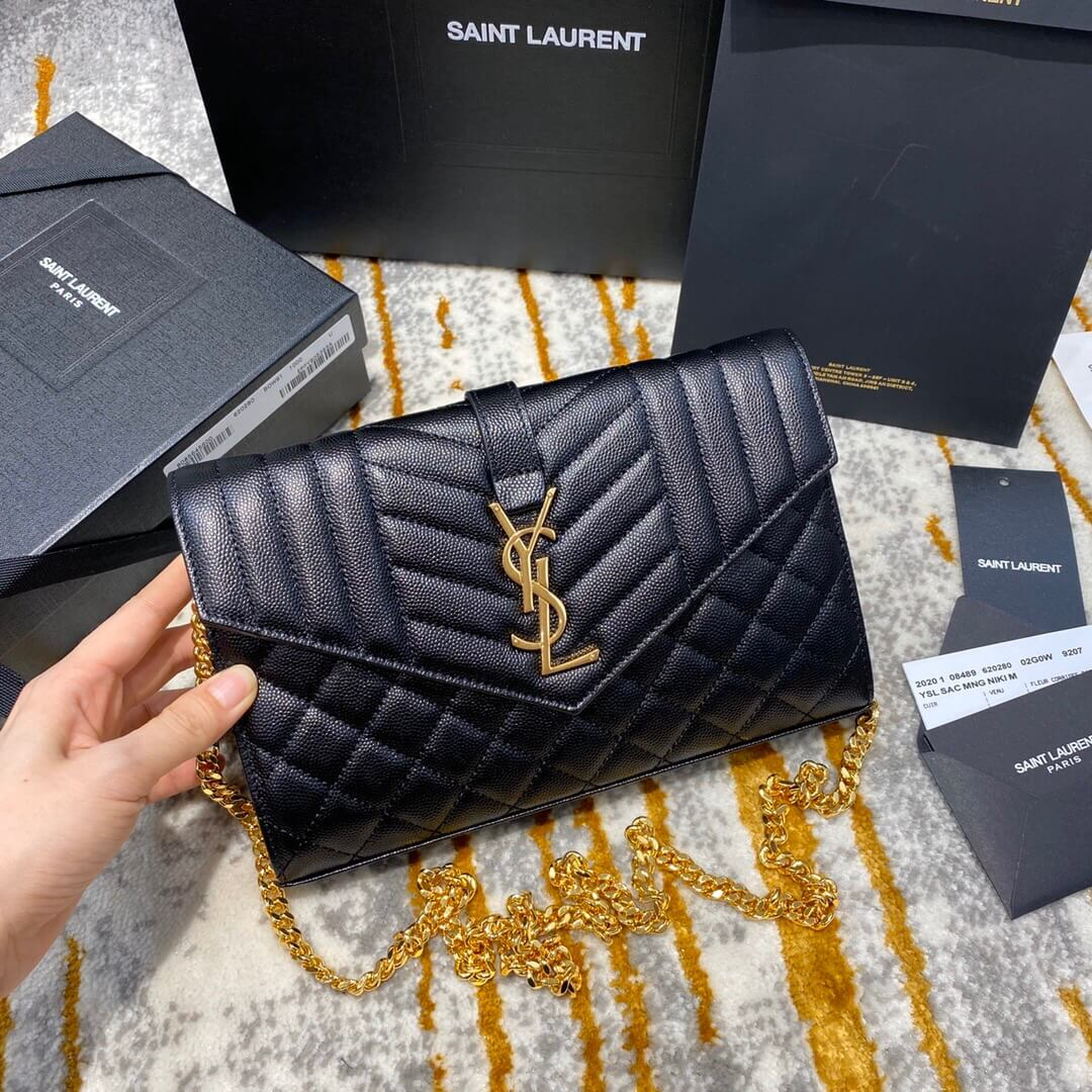 YSL MONOGRAM MIX MATELASSÉ粒面皮革链条包 620280
