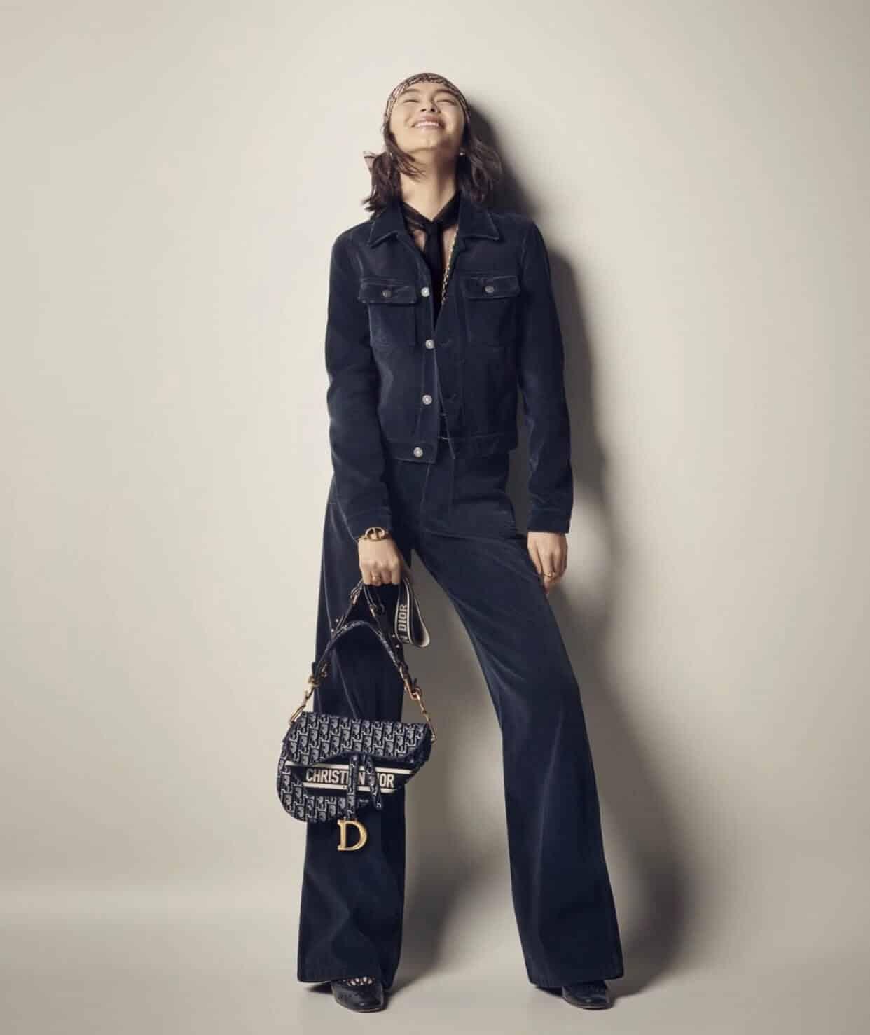 Dior迪奥 蓝色天鹅绒 Oblique 印花马鞍包 M0446CWVF_M928