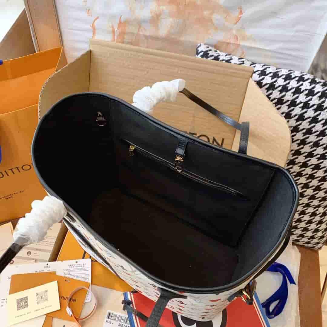 Louis Vuitton LV M57462 Neverfull 白三彩扑克牌购物袋