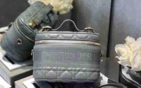 Dior Travel灰色羊皮藤格纹单肩手提化妆包 S5488UNTR_M41G