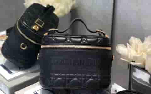 Dior Travel黑色羊皮藤格纹单肩手提化妆包 S5488UNTR_M900